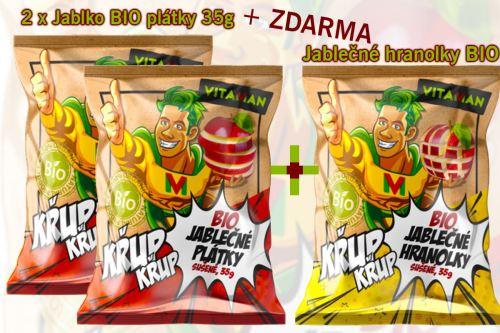 Vitaman 2 x Jablko BIO plátky 35g sušené + Dárek