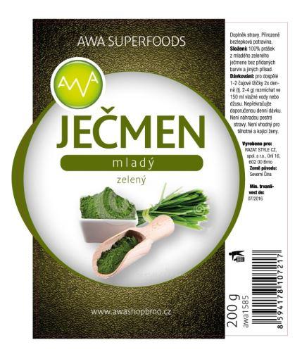 AWA superfoods Zelený mladý ječmen 2x200g + dárek