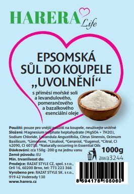 """Epsomská sůl do koupele """"Uvolnění"""" 1000g"""